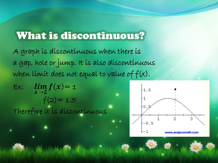 What is discontinuous?