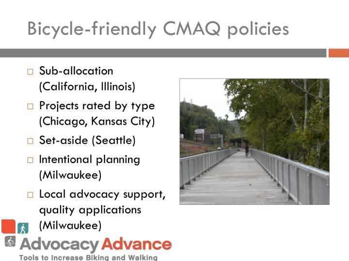 Bicycle-friendly CMAQ policies
