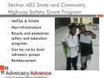 section 402 state and community highway safety grant program