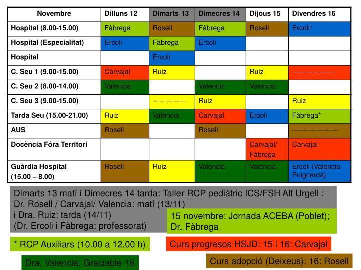Dimarts 13 matí i Dimecres 14 tarda: Taller RCP pediàtric ICS/FSH Alt Urgell :