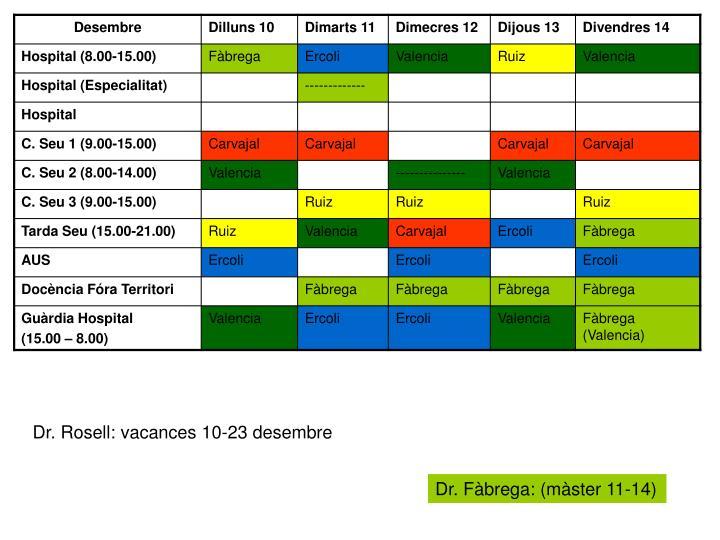 Dr. Rosell: vacances 10-23 desembre