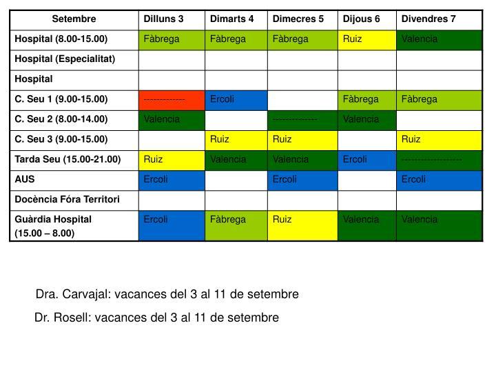 Dra. Carvajal: vacances del 3 al 11 de setembre
