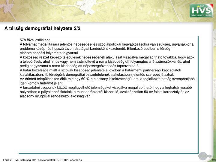 A térség demográfiai helyzete 2/2