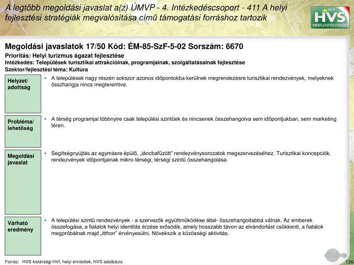 Megoldási javaslatok 17/50 Kód: ÉM-85-SzF-5-02 Sorszám: 6670