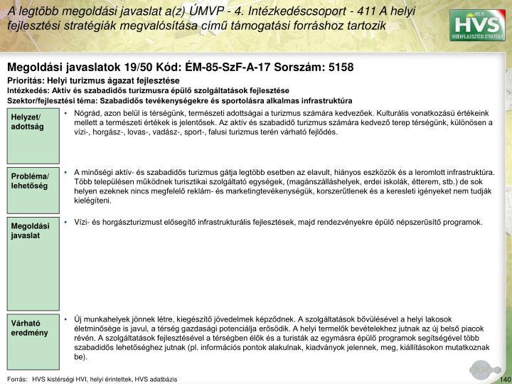 Megoldási javaslatok 19/50 Kód: ÉM-85-SzF-A-17 Sorszám: 5158