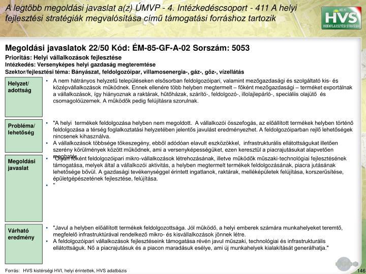 Megoldási javaslatok 22/50 Kód: ÉM-85-GF-A-02 Sorszám: 5053