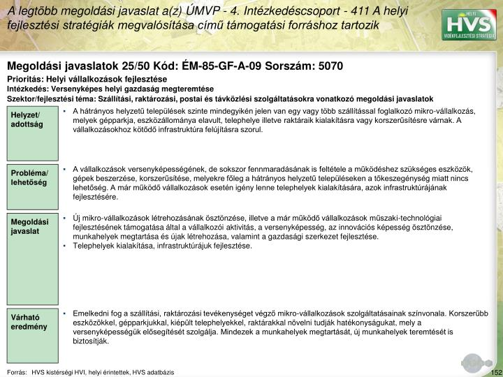 Megoldási javaslatok 25/50 Kód: ÉM-85-GF-A-09 Sorszám: 5070
