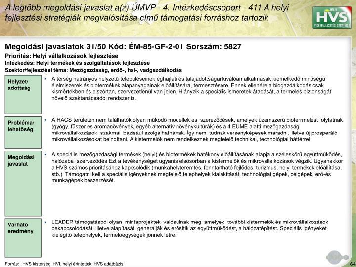Megoldási javaslatok 31/50 Kód: ÉM-85-GF-2-01 Sorszám: 5827