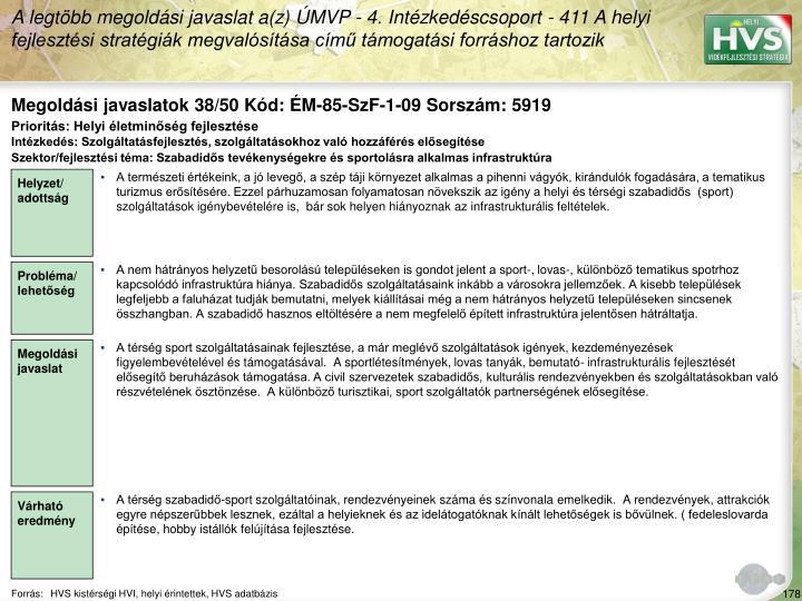 Megoldási javaslatok 38/50 Kód: ÉM-85-SzF-1-09 Sorszám: 5919