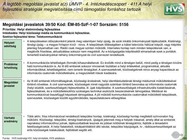 Megoldási javaslatok 39/50 Kód: ÉM-85-SzF-1-07 Sorszám: 5156