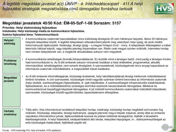 Megoldási javaslatok 40/50 Kód: ÉM-85-SzF-1-08 Sorszám: 5157