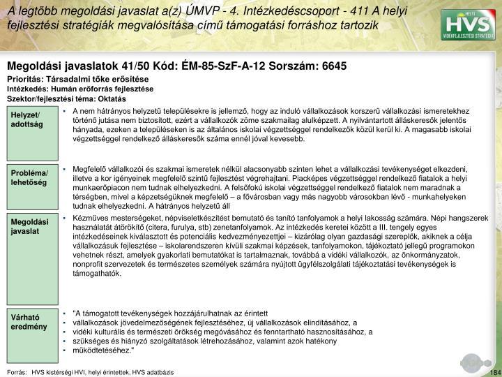 Megoldási javaslatok 41/50 Kód: ÉM-85-SzF-A-12 Sorszám: 6645