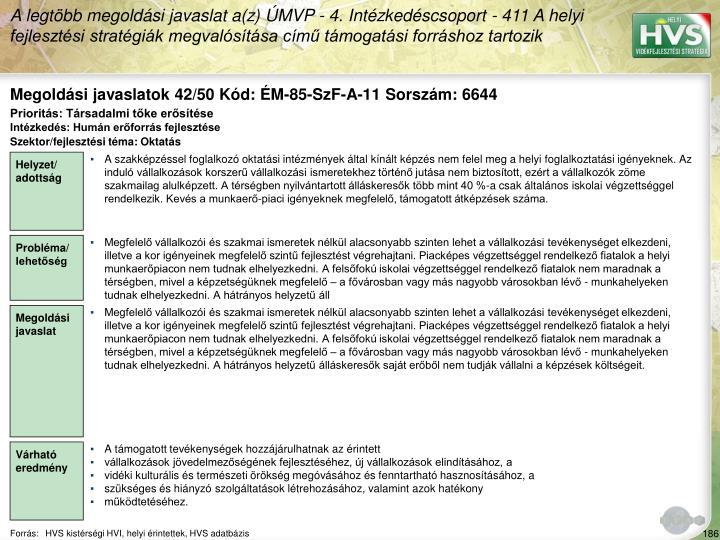 Megoldási javaslatok 42/50 Kód: ÉM-85-SzF-A-11 Sorszám: 6644