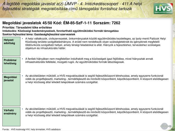 Megoldási javaslatok 45/50 Kód: ÉM-85-SzF-1-11 Sorszám: 7262