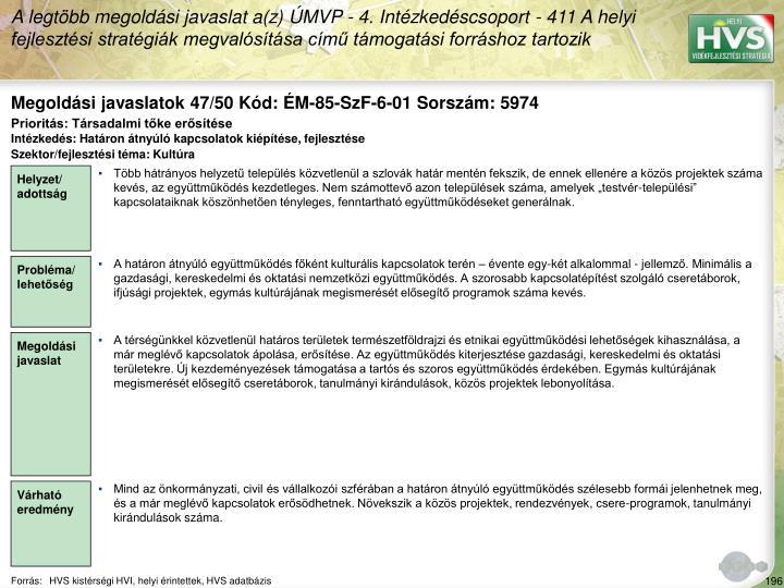 Megoldási javaslatok 47/50 Kód: ÉM-85-SzF-6-01 Sorszám: 5974