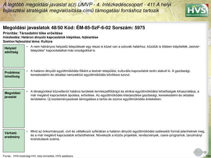 Megoldási javaslatok 48/50 Kód: ÉM-85-SzF-6-02 Sorszám: 5975