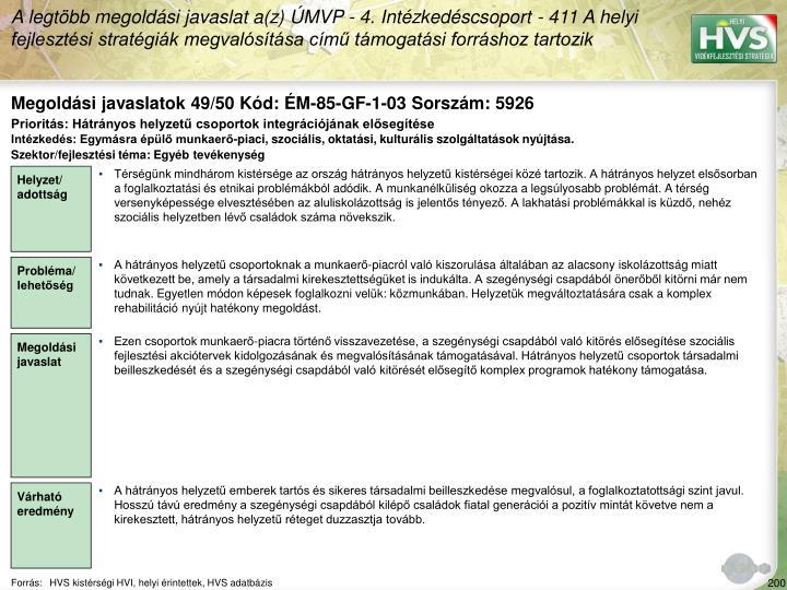 Megoldási javaslatok 49/50 Kód: ÉM-85-GF-1-03 Sorszám: 5926
