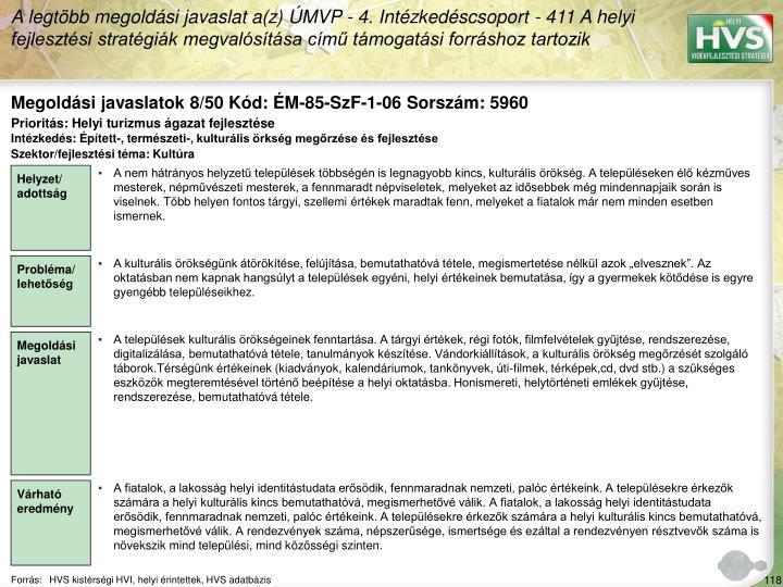 Megoldási javaslatok 8/50 Kód: ÉM-85-SzF-1-06 Sorszám: 5960