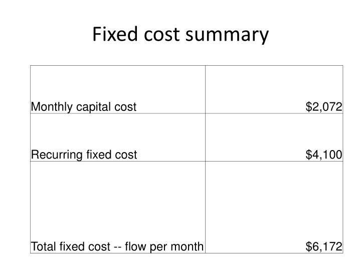 Fixed cost summary