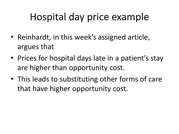 Hospital day price example
