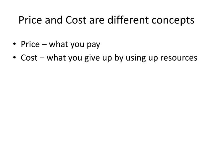 Price and Cost are different concepts