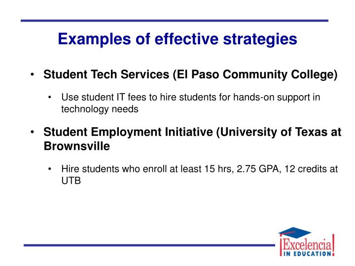 Examples of effective strategies