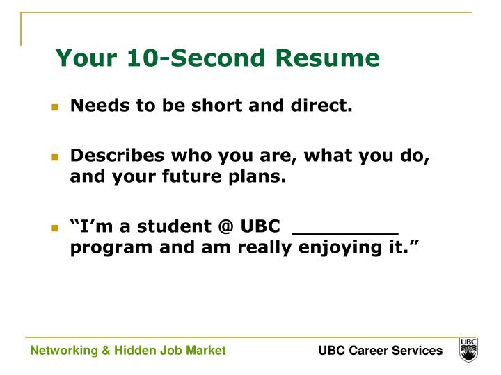 Your 10-Second Resume