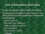 lack of information about islam