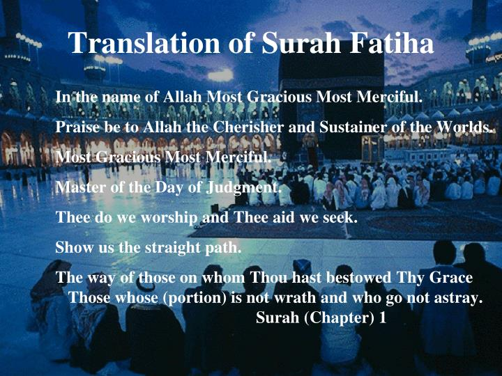 Translation of Surah Fatiha