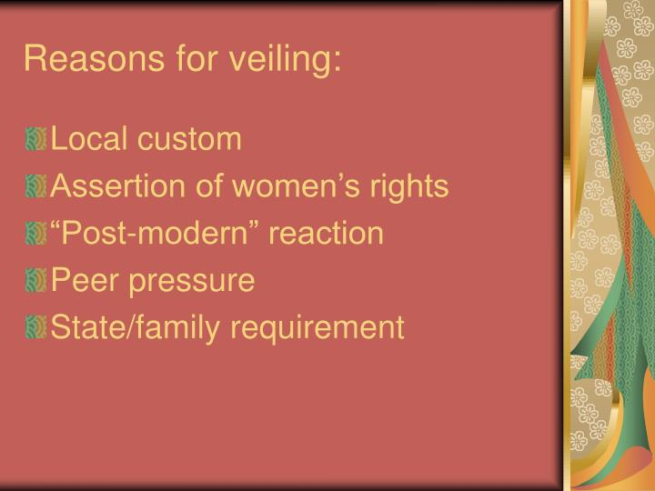 Reasons for veiling: