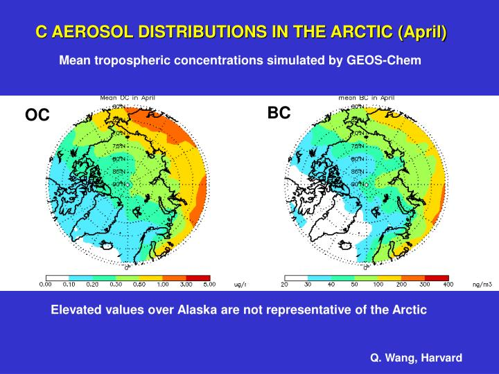 C AEROSOL DISTRIBUTIONS IN THE ARCTIC (April)