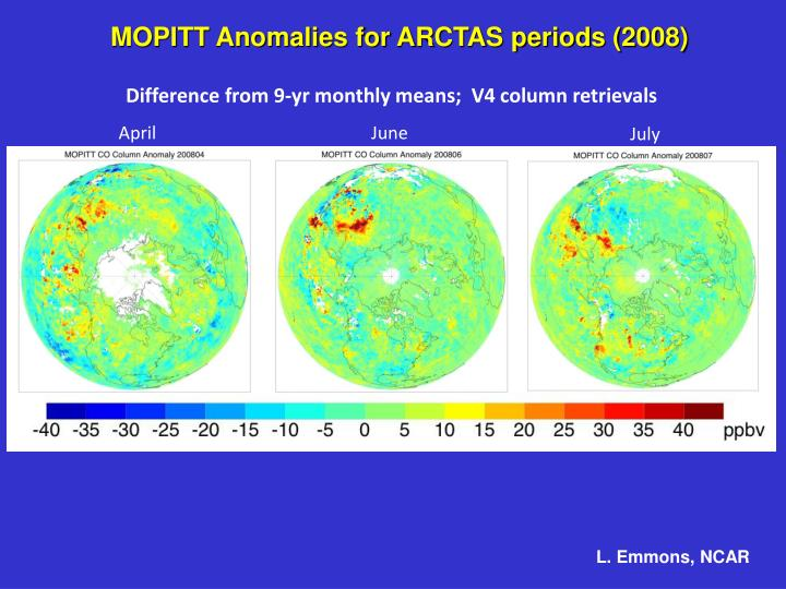 MOPITT Anomalies for ARCTAS periods (2008)