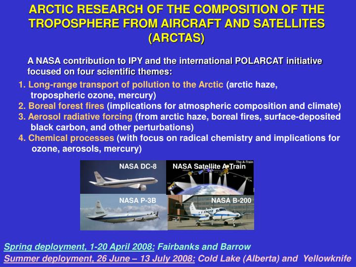 ARCTIC RESEARCH OF THE COMPOSITION OF THE TROPOSPHERE FROM AIRCRAFT AND SATELLITES (ARCTAS)