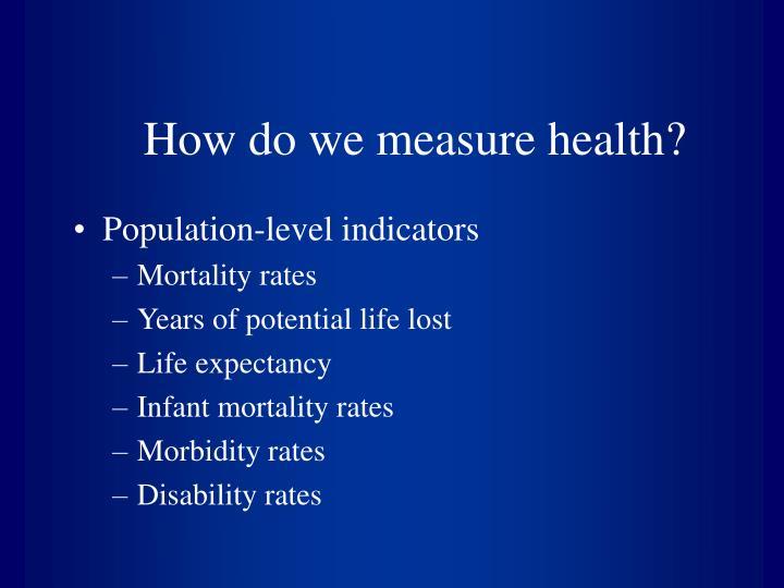How do we measure health?