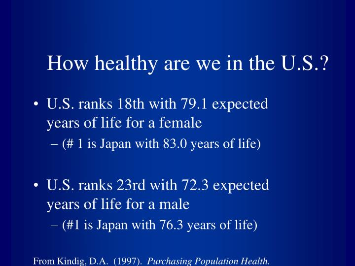 How healthy are we in the U.S.?