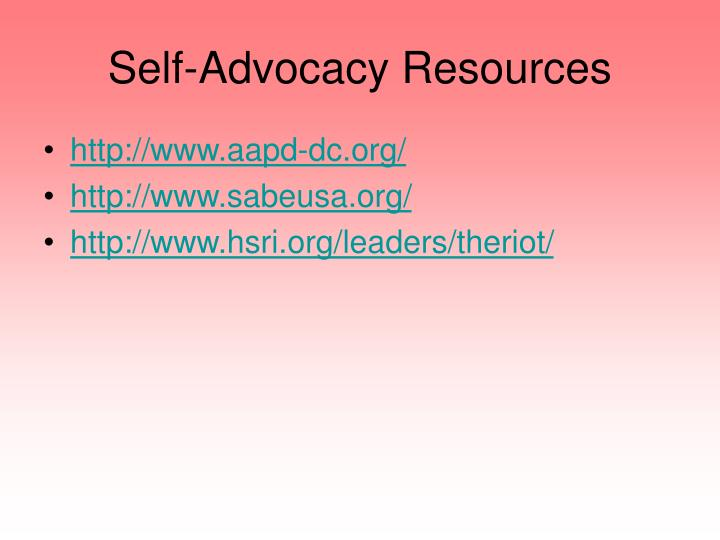 Self-Advocacy Resources