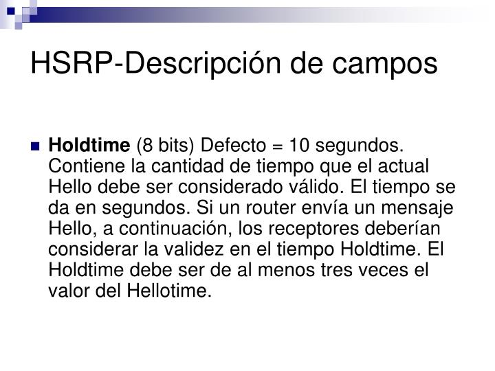 HSRP-Descripción de campos