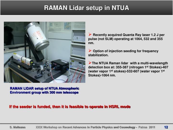 RAMAN Lidar setup in NTUA