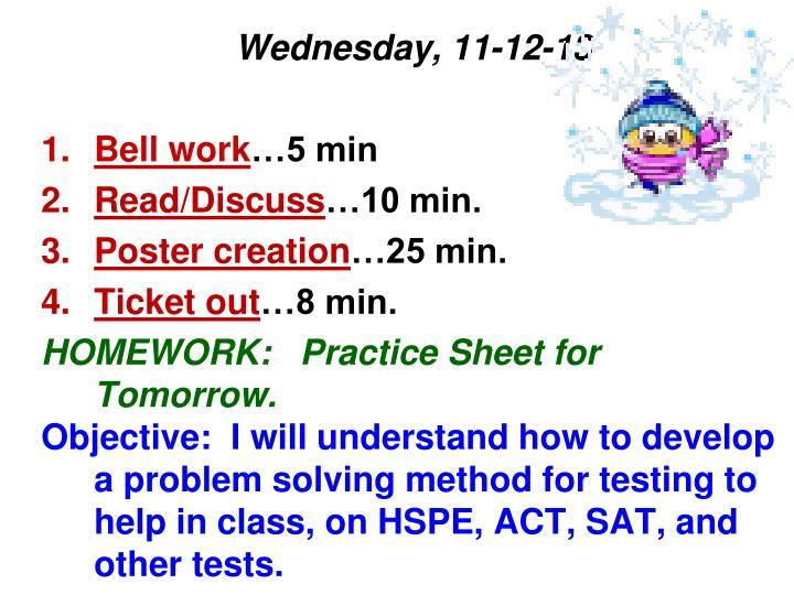 Wednesday, 11-12-13