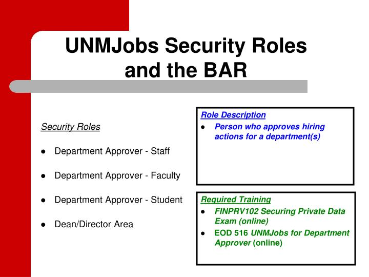 UNMJobs Security Roles