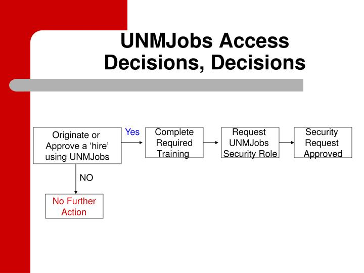 Unmjobs access decisions decisions