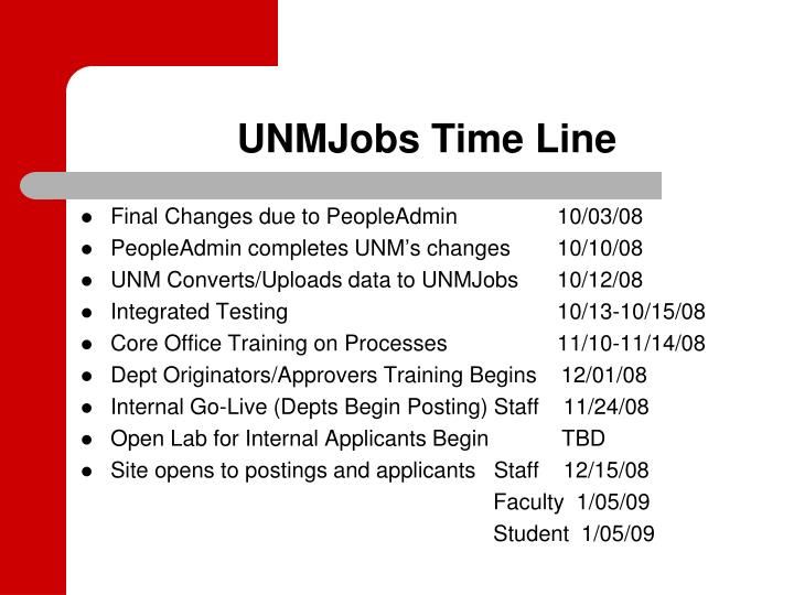 UNMJobs Time Line