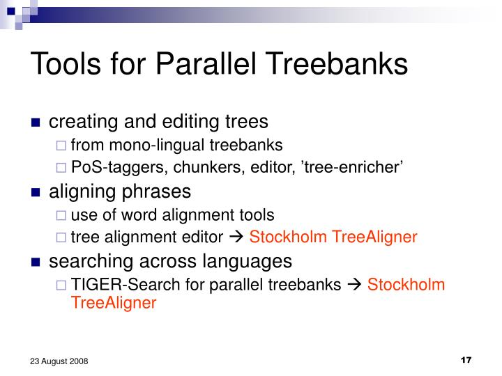 Tools for Parallel Treebanks