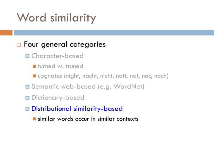 Word similarity