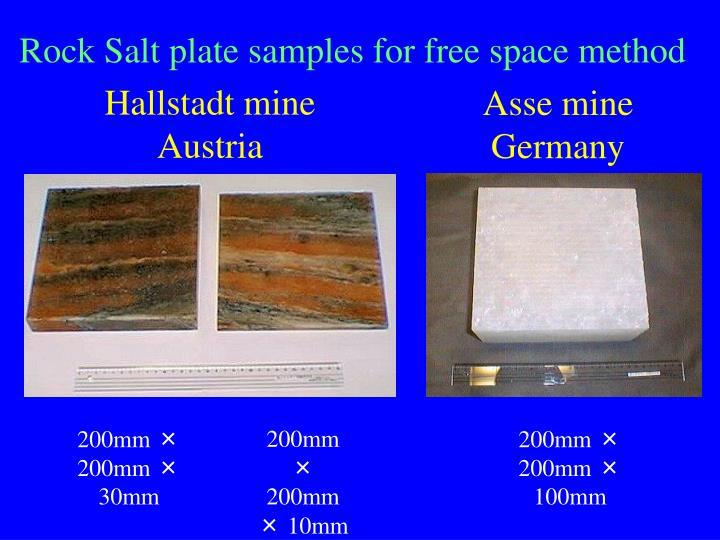 Rock Salt plate samples for free space method