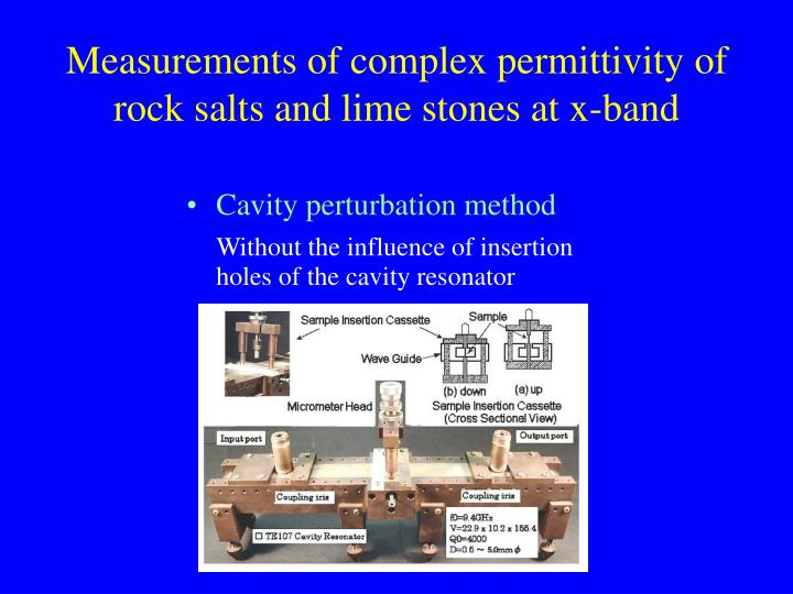 Measurements of complex permittivity of rock salts and lime stones at x-band