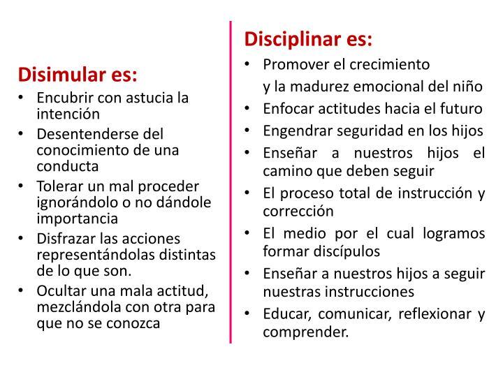 Disimular es: