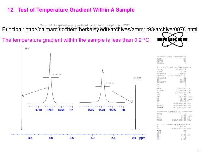 12.  Test of Temperature Gradient Within A Sample