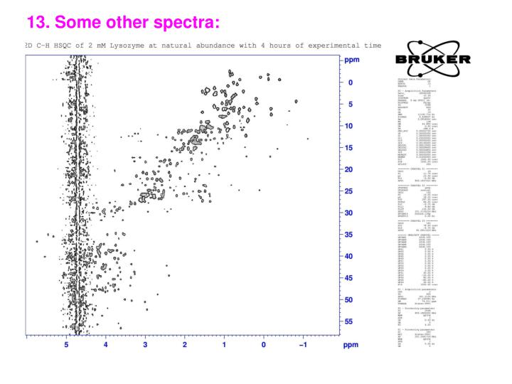 13. Some other spectra: