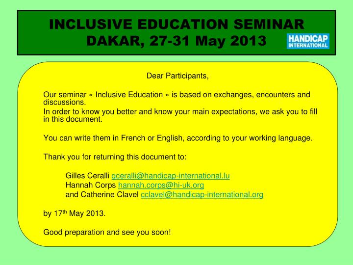 Inclusive education seminar dakar 27 31 may 2013